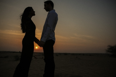 sunset engaged dubai desert